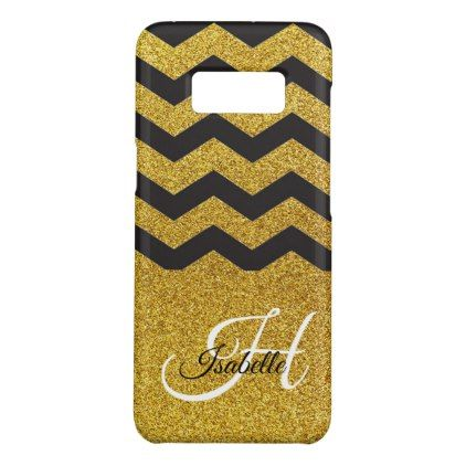 Glam Gold Glitter Chevron Samsung Galaxy S8 Case - calligraphy gifts unique style cyo customize