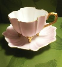 T & V Limoges Tea Cup Saucer Footed, Gold Gilt, Qua Trefoil, Lovely!