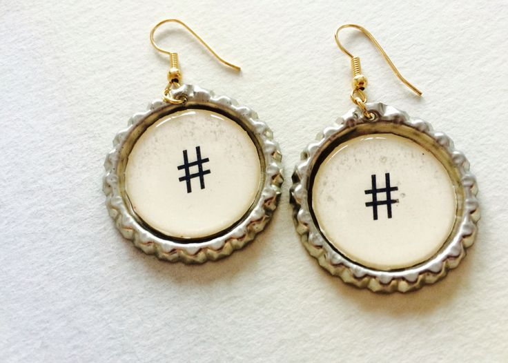 Hashtag bottle cap earrings made by me for Ariadne's Creations