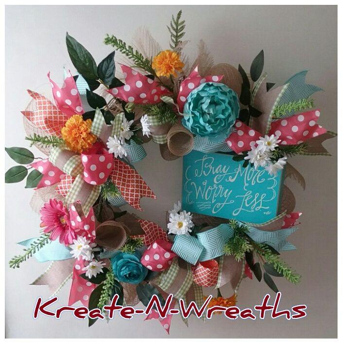 Frontdoor wreathColorful Spring Summmer Wreath Everyday Wreath