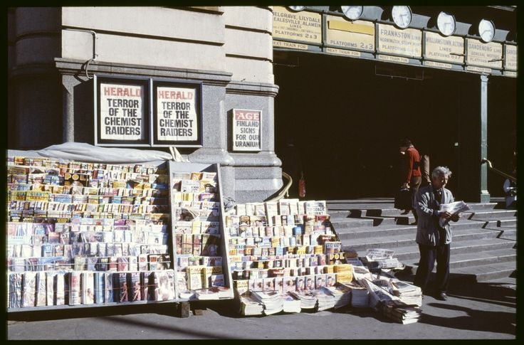 Old newspaper stand ay Flinders St station. It's now been moved opposite. 1980s.