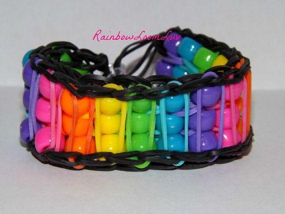 Reversible  Beaded  Rainbow Loom Bracelet by RainbowLoomLuv, $6.00