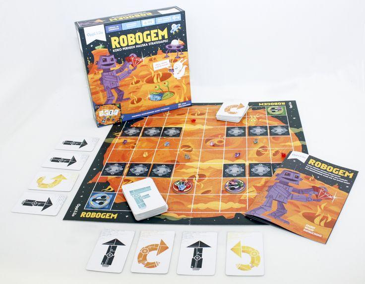 Robogem on vauhdikas ja koukuttava strategiapeli, jossa robotit etsivät timantteja kaukaiselta planeetalta. Ohjaa robotteja yksinkertaisilla käskyillä, taktikoi, välttele esteitä ja nappaa timantit ensin! Peli vaikeutuu taitojen karttuessa - siinä riittää haastetta koko perheelle!  Ohjelmointi on tulevaisuuden perustaito. Tässä pelissä opit helposti hahmottamaan ohjelmoinnin perusasioita – loogista päättelykykyä ja yksityiskohtaisten käskyjen antamista.  Kerää timantteja ja pidä hauskaa!
