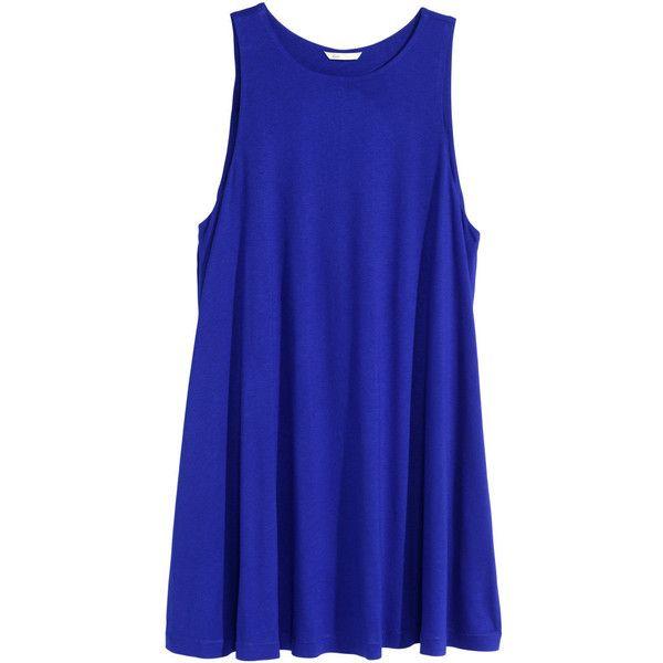 H&M A-line dress ($20) ❤ liked on Polyvore featuring dresses, tops, vestidos, h&m, blue dress, pocket dress, blue a line dress, blue sleeveless dress and sleeveless dress