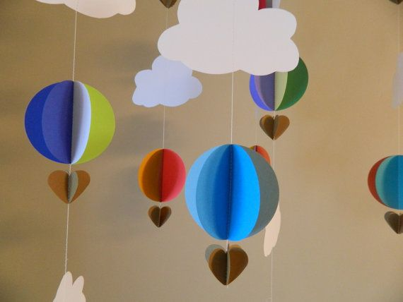 3D Paper Hot Air Balloons/Baby Shower by anyoccasionbanners, $19.75