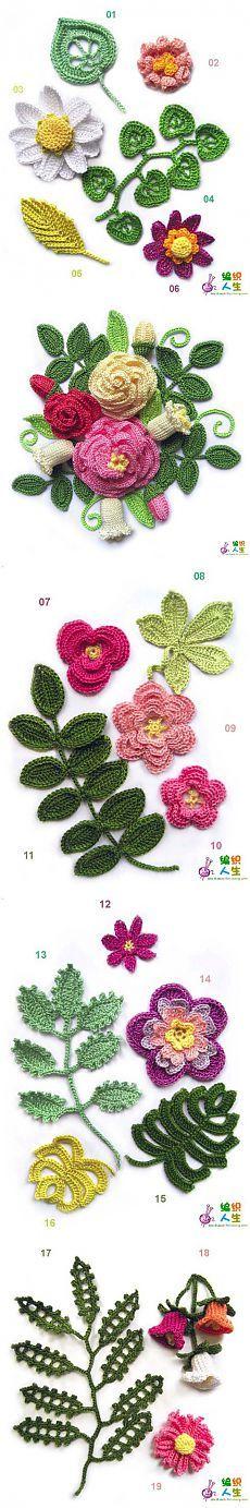 Схемы вязание различных цветов.