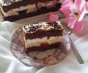 czekoladowe ciasto z bananami i ptasim mleczkiem
