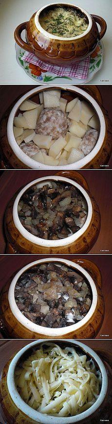 Фрикадельки с картошкой и грибами под сыром - рецепт и способ приготовления, ингридиенты   sloosh