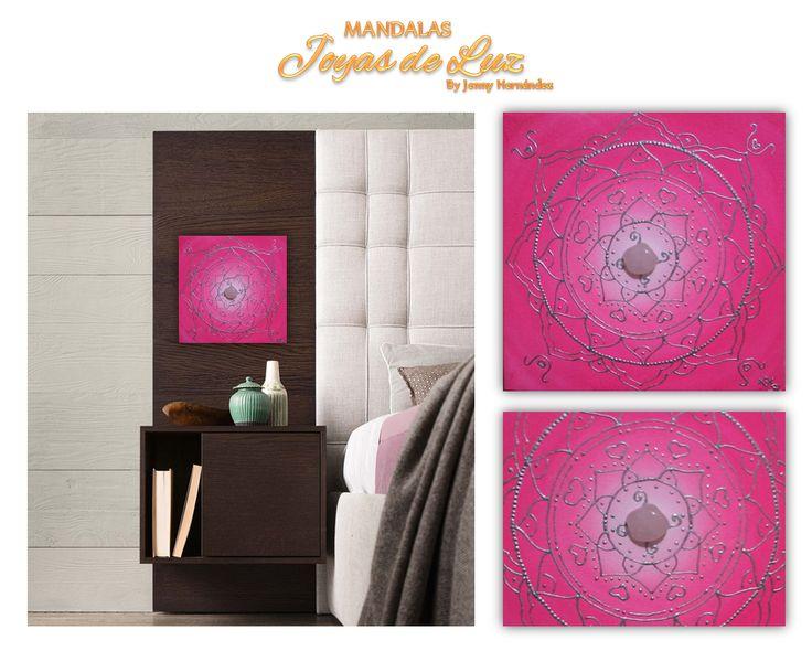 Mandala con cuarzo rosado y energizado con el Arcángel Chamuel