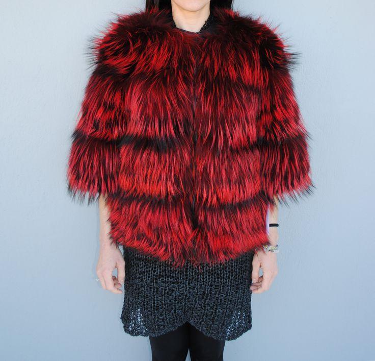 Red bloom in a fox fur jacket. Find more at pt-furs.com