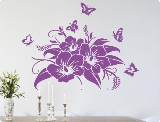 Hibiskus Wandtattoo Blüte mit Schmetterlingen