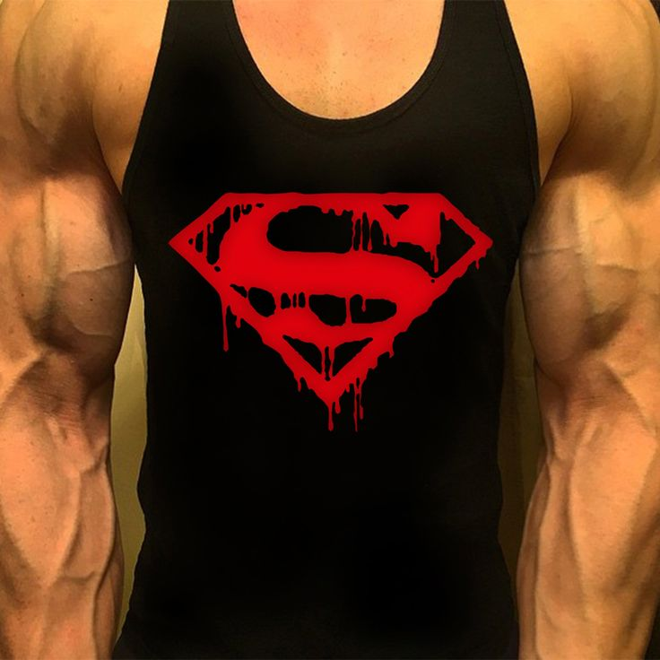Superman mens workout racerback tank top bodybuilding for Best work out shirts