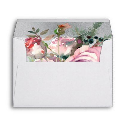 floral winter roses watercolor mailing envelopes - winter wedding cyo marriage wedding party gift idea