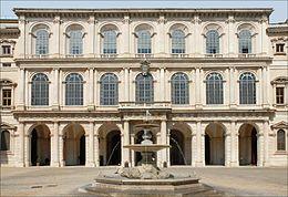 Palazzo Barberini, a Roma, fu costruito nel periodo 1625-1633 ampliando (nelle forme del primo barocco) il precedente edificio della famiglia Sforza creando una struttura ad acca, caratterizzata da un atrio a ninfeo, diaframma fra il loggiato d'ingresso e il giardino sviluppato sul retro. Autore del progetto è l'anziano Carlo Maderno, coadiuvato da Francesco Borromini.