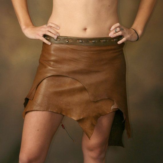 Huntress Deer Skin Brown Leather Skirt by SnakeFootTribe on Etsy