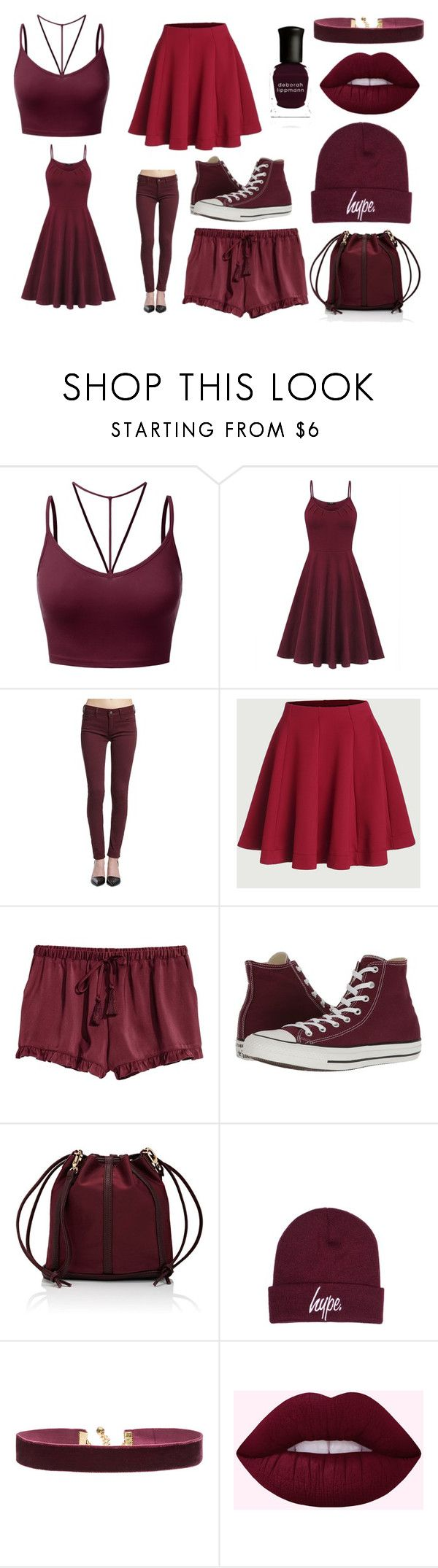 """dark red set"" by ruthmccarthy on Polyvore featuring J.TOMSON, Mavi, Converse, Deux Lux, Hype, Vanessa Mooney and Deborah Lippmann"