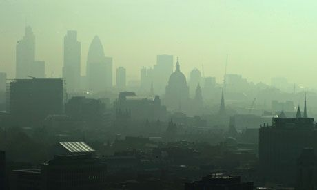 London's air pollution levels of nitrogen dioxide exceed EU levels by 50% in some areas. Photograph: Carl De Souza/AFP/Getty Images