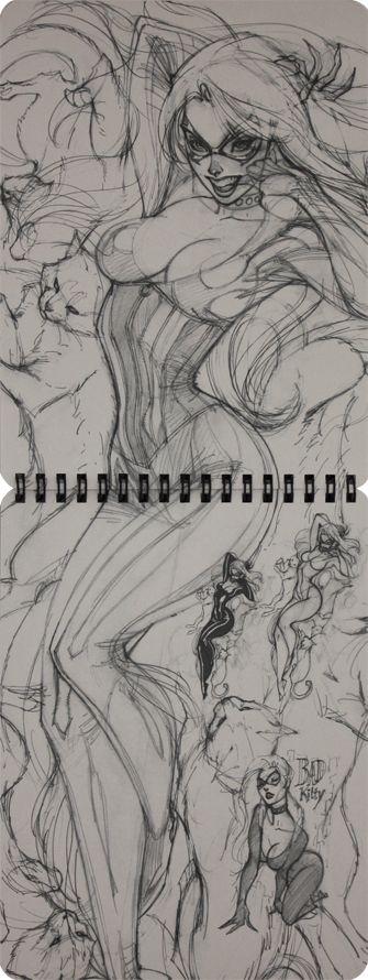 Black Cat J. Scott Campbell Ruff Stuff 2012 Vol 2 Sketchbook (P23-24)
