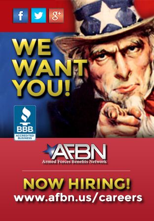 NOW HIRING! Military Retirees, Dependents, National Guard and Veterans. Full time & Part time positions available. If you love our service members WE WANT YOU. Earn full time income with part time effort, work 4 hrs a day, 4 days a wk and make up to $4,000/month! View our 30-sec video at www.afbn.us/careers to learn more! Armed Forces Benefits Network is an Equal Employment Opportunity (EEO) employer.
