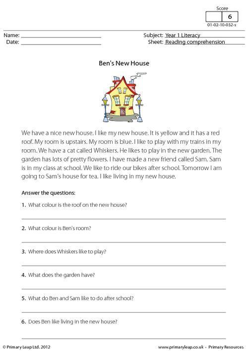 PrimaryLeap.co.uk - Reading comprehension - Ben's New House Worksheet