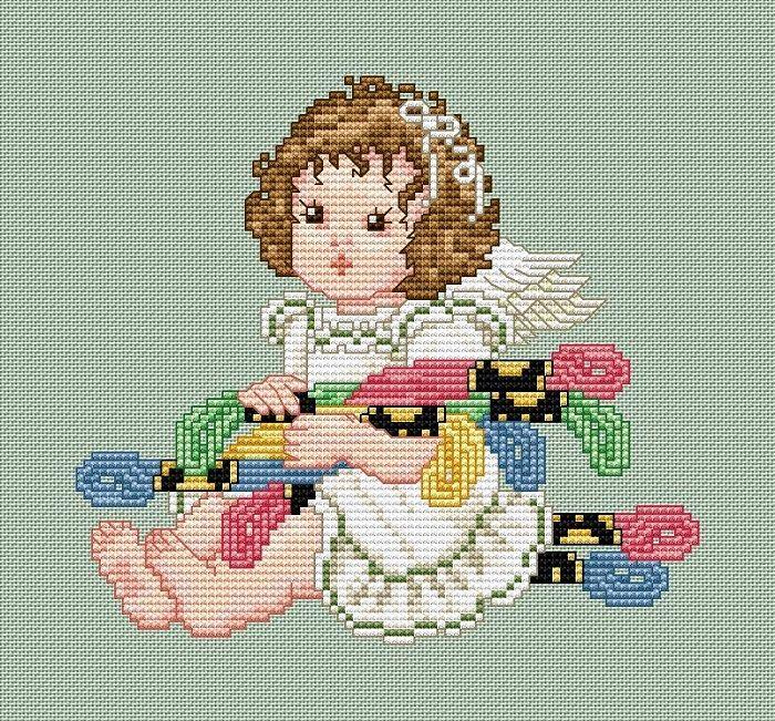 """Сачать схему вышивки """"Stitch Angel with Floss"""""""