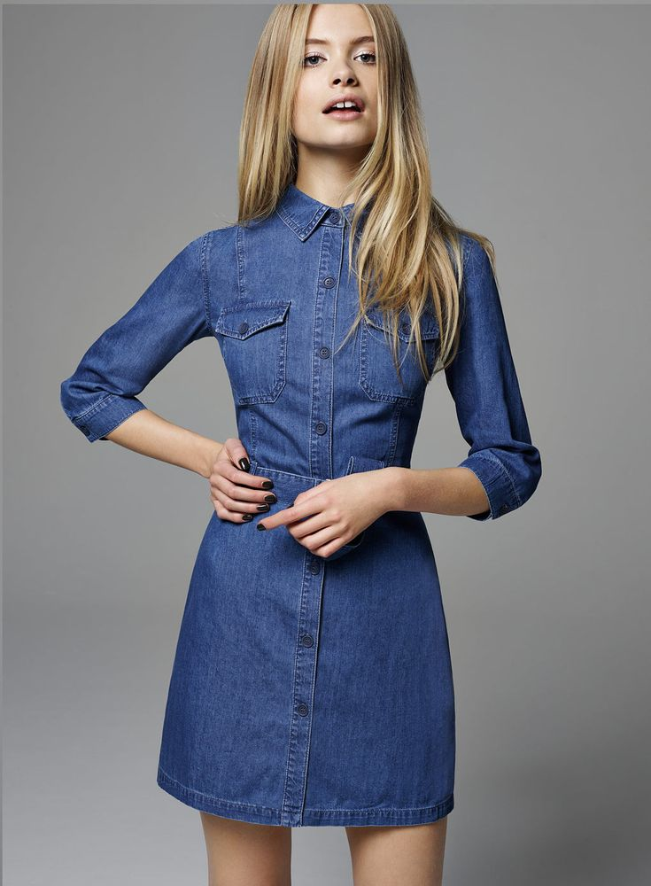 Utility Denim Shirt Dress - Miss Selfridge for cooler days, left open a bit though