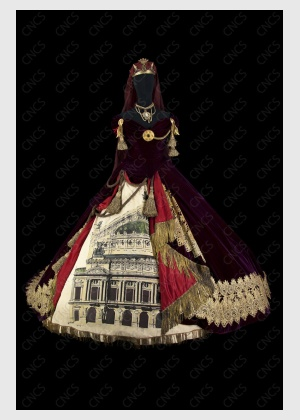 """Melpomène's costume from the 1988 Opéra National de Paris production of """"Orpheus in the Underworld""""."""