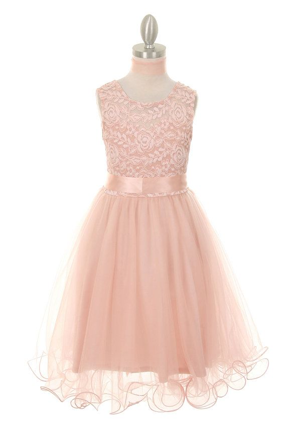 Flower girl dress blush pink lace top with curl tulle skirt, Blush Pink flower…