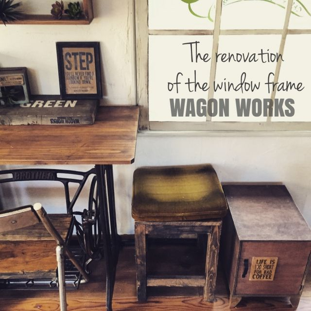 chikoさんの、机,DIY,カフェ風,リノベーション,窓枠DIY,セルフリノベーション,男前インテリア,のお部屋写真