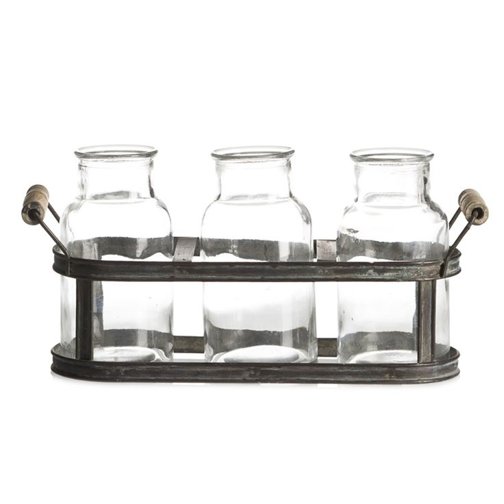 BOTTLE BUD VASE SET OF 3 WITH TRAY - ANTIQUE/CLEAR