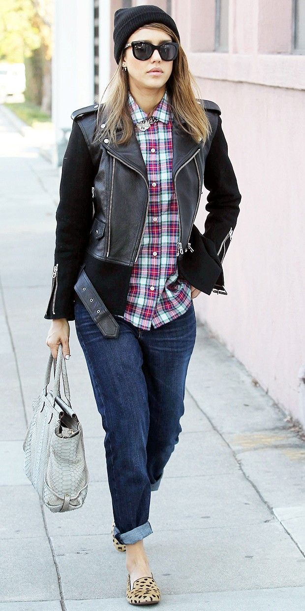 Jessica Alba's Must-Try Plaid & Leopard Combo - WhoWhatWear.com