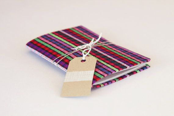 Pocket Size Folk Fabric Cover Notebook by FolkRhythm on Etsy