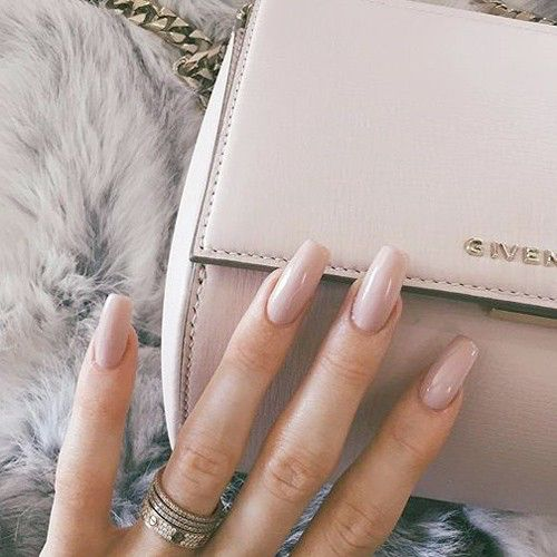 Nude tapered square nails