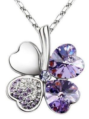 Swarovski Elements Crystal Four Leaf Clover Purple Pendant Necklace 19 inch Gift | eBay