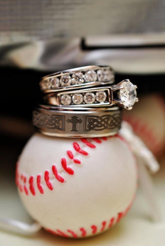 Wedding Rings Shot At A Baseball Themed Reception