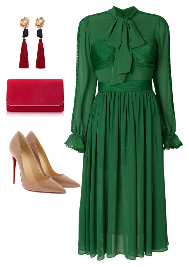 """""""#popofgreen"""" by jenmartin1987 on Polyvore featuring Christian Louboutin and MANGO"""