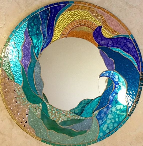 NEW 24 Mosaic Mirror Stained Glass Round Ocean by SolSisterDesign