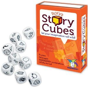 "Many times our goal in speech therapy is for children to learn to build stories, adding details, descriptive words and generating a beginning, middle and end. We can use picture cards, photographs, objects and now ""Rory's Story Cubes"" to generate ideas as kids add to their stories. Here is my"