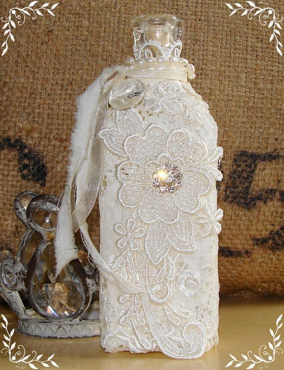 Vintage Bottle Embellished with Lace, Pearls and Rhinestones