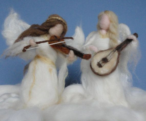 Needle Felted Angels Playing Violin Lute by ClaudiaMarieFelt, $80.00