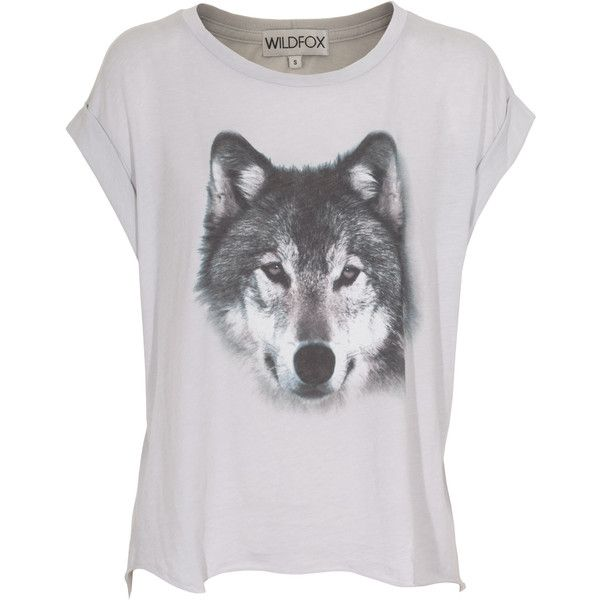 WILDFOX Wolf Smoke Oversize T-shirt with print found on Polyvore