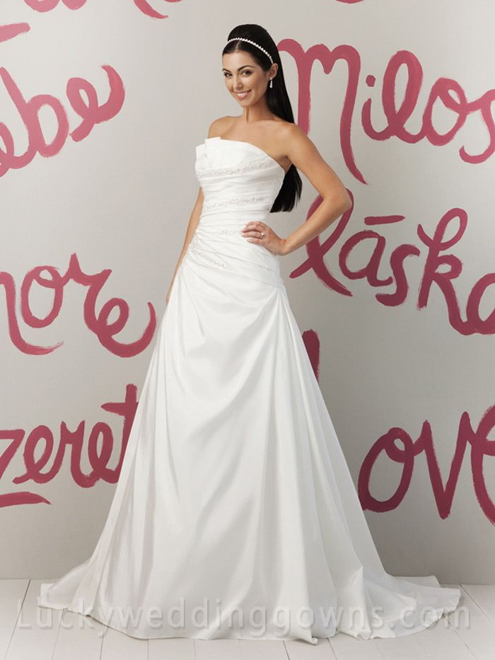 Spring Taffeta A-line Wedding Dress with Envelop Pleated Strapless Bodice