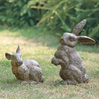 Standing And Sitting Rabbits Garden Decor