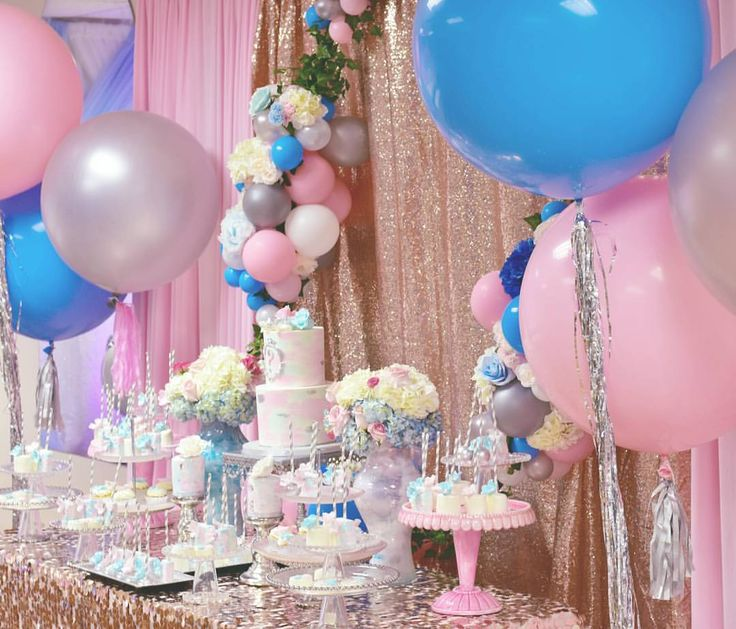 "@marieantoinette.events) on Instagram: ""Gender Reveal Baby Shower  Balloons by @willyb_balloons  Cake @cutecakesbyangel  Treats and Mini…"""