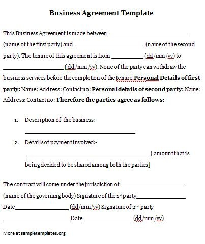 Business agreement business agreement template cheaphphosting Image collections