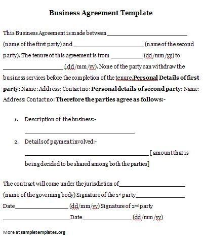 business agreement business agreement template
