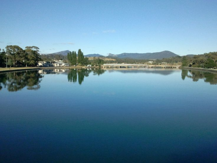 The Leven River looking toward the Dial Range at Ulverstone, Tasmania.
