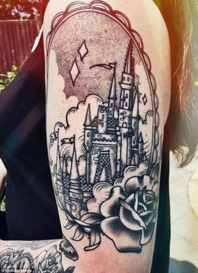 The Disney devotee has a range of large, Disney-themed tattoos covering her arm including ...