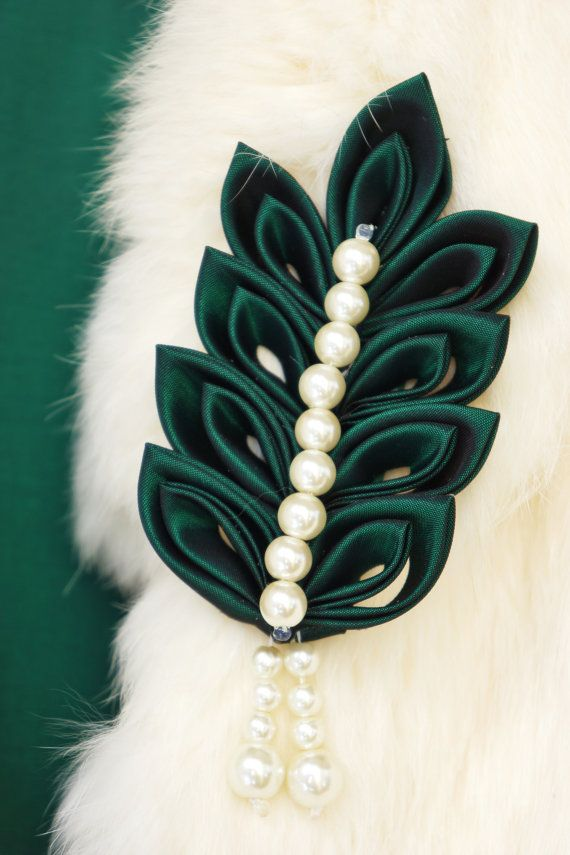 Signature Brooch Dark green leaf brooch adorned by RadiantBows, $15.99
