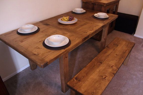handmade chunky dining table and bench seat in by MarcWoodJoinery